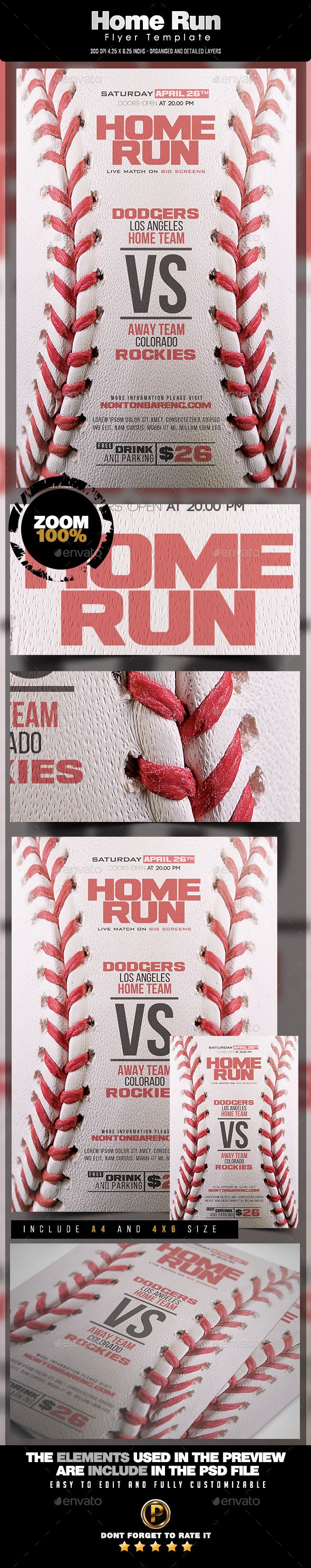 Home Run Flyer Template PSD. Download here: http://graphicriver.net/item/home-run-flyer-template/15787953?ref=ksioks