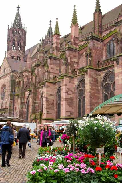 Freiburg, Germany, the Marktplatz in front of the Münster.