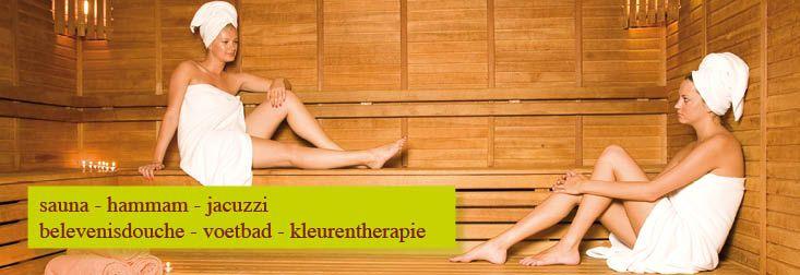 sauna, hammam, jacuzzi, belevenisdouche, voetbaden, kleurentherapie