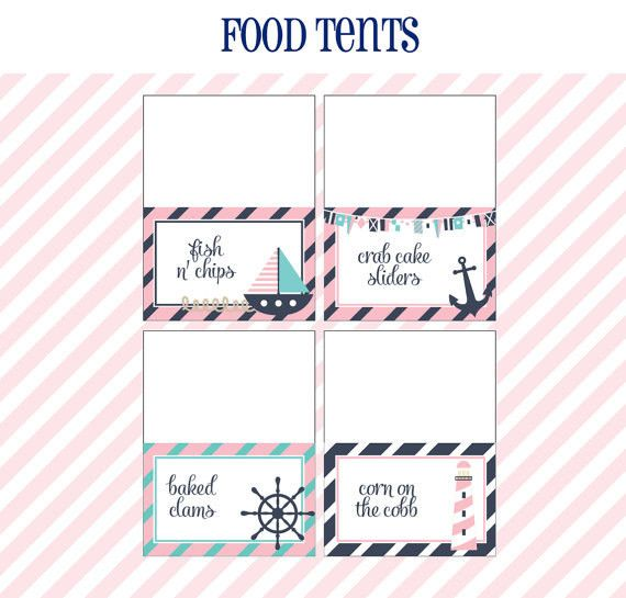 Nautical Birthday Party - FOOD LABELS - Printable Girl Nautical Decorations - Printable Food Tents - DIY Birthday Party in Pink and Navy