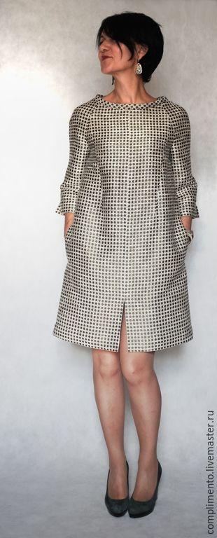 """Купить или заказать Платье А-силуэта """"1965"""" в интернет магазине на Ярмарке Мастеров. С доставкой по России и СНГ. Материалы: Смесовые ткани, хлопок с вискозой,…. Размер: возможны размеры с 42 по 50<br /> <br />…"""
