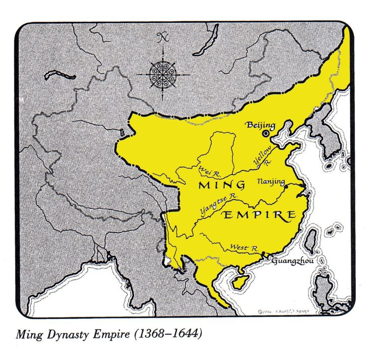 Ming mounted state sponsored trading expeditions; the fleets were technological world leaders.  Rulers halted the fleets in 1433 due to high costs and opposition from Confucian bureaucrats.  There was little need for foreign products since internal development flourished.  this is an image of the land that the Ming dynasty covered.