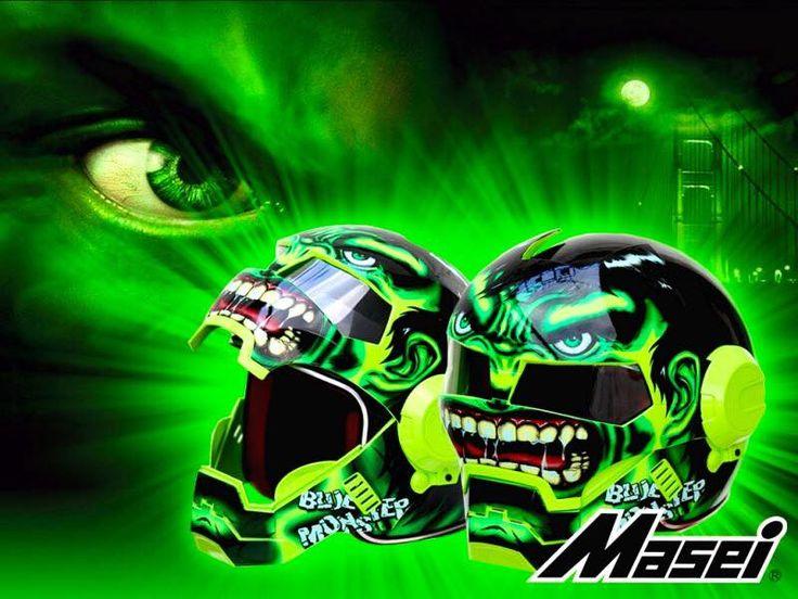 Masei Green Monster 610 Motorcycle Harley Chopper Helmet FREE Shipping Worldwide