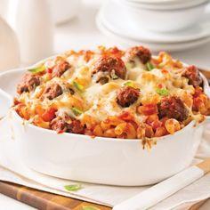 Macaroni gratiné aux boulettes de viande - Soupers de semaine - Recettes 5-15 - Recettes express 5/15 - Pratico Pratique