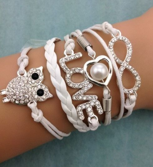 White owl set,DIY leather bracelet sets shop at Costwe.com