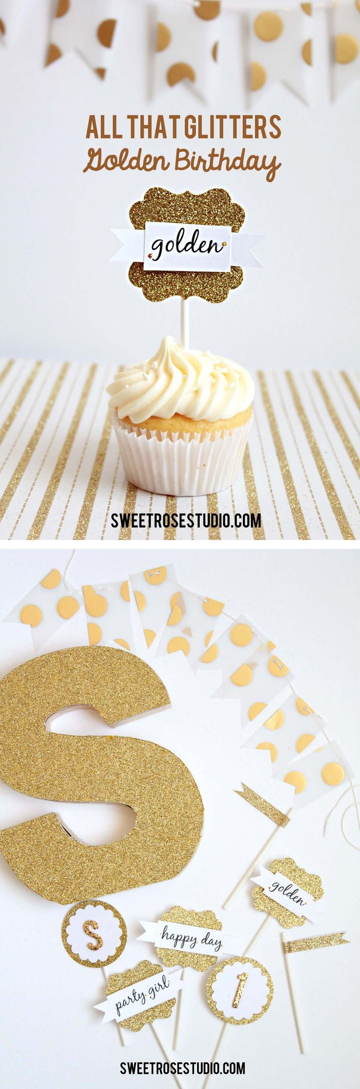 All That Glitters: Golden Birthday Party at Sweet Rose Studio #crafts #DIY #glitter #party @Janet Russell-Snider Crafts