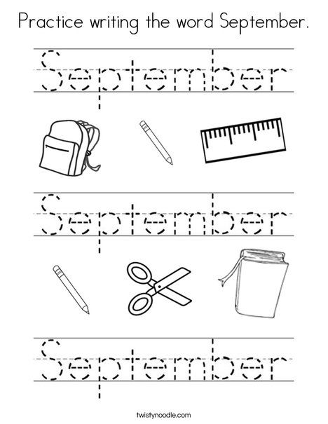 Practice writing the word September Coloring Page ...