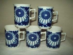 Porsgrund Norway Cups Cobalt Blue White Floral
