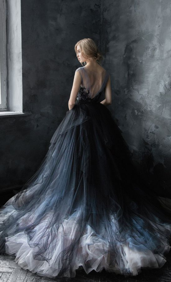 Unique Black, Blue and Silver Grey Tulle Ballgown Wedding Dress