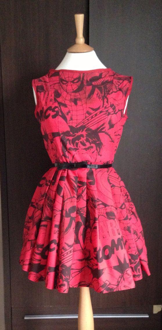 Retro Upcycled Marvel Comic Skater Dress Medium by RobynEgerton, £50.00