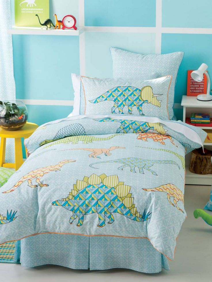 single quilt cover Sets Retro Dino quilt Blue, blue Quilt quilt covers Online