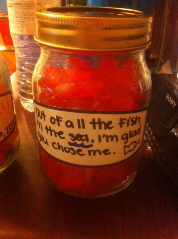 Just a cute Christmas gift for boyfriend or who you're dating. It's Swedish Fish in the jar. :) Gold Fish would work too. But I figured candy