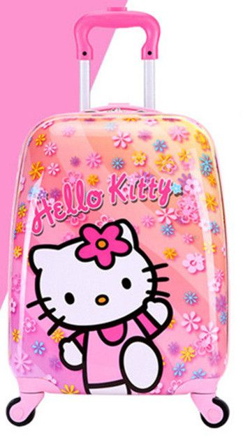 Baby Girls Cute Hello Kitty Trolley Luggage/Children ABS School Bags With Wheels/Kids 16'' 18'' Cartoon Brand Travel Suitcase