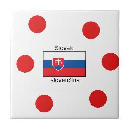 Slovak Language And Slovakia Flag Design Ceramic Tile - decor gifts diy home & living cyo giftidea