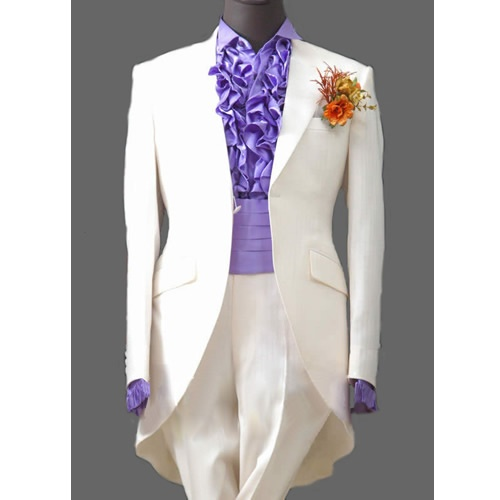 Mens 3 Piece White Victorian Edwardian Dress Tail Suits Tuxedo Wedding Sku 123015