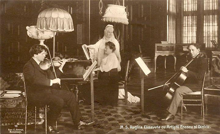 George Enescu și Dimitrie Dinicu, invitați ai M.S. Regina Elisabeta, la Castelul Peleș