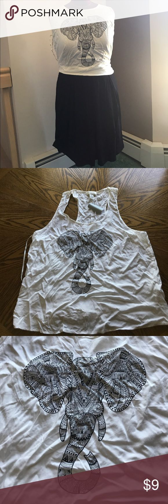 Brand New Forever 21 Elephant Tank 2X brand new with tags! Accidentally bought in a size too small for me :( super cute and great for summer! Back is kinda like a racerback (see pic!)! Super cool elephant geometric design!  trying to reduce my closet since I'm moving to Spain at the end of the summer! Offers and bundles welcome - low balls are not! :) Forever 21 Tops Tank Tops