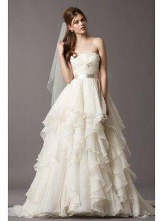 Court Train Chiffon Ball Gown Wedding Dress