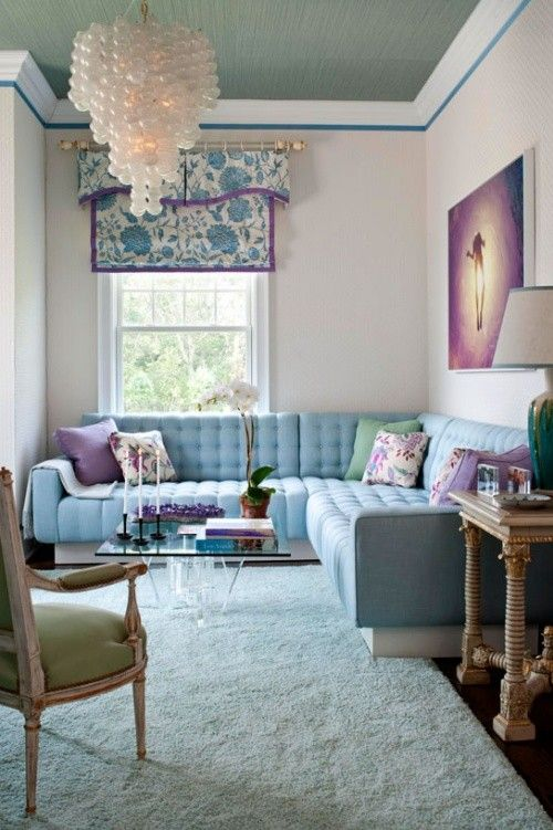 Pastel Blue Green Purple Living Room