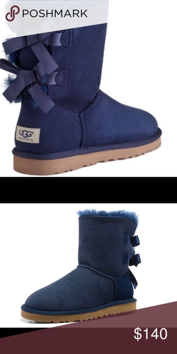 Short navy blue uggs Navy blue , bows , uggs UGG Shoes Ankle Boots & Booties