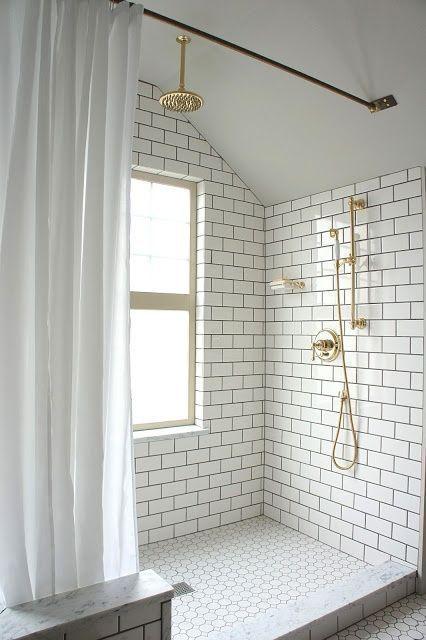 White Bathroom Subway Tiles and Brass Shower Details   Winter Whites
