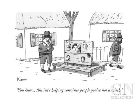A man in Salem Massachusetts says to a woman contorting her limbs in a set... - New Yorker Cartoon Poster Print by Zachary Kanin at the Condé Nast Collection