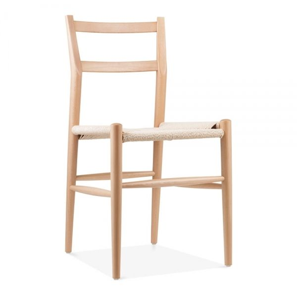 Danish Designs Leon Beech Wood Dining Chair With Woven Seat