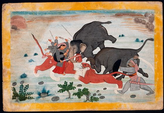 Durga Attacking the Elephant, Buffalo, Lion, and Human Forms of Mahisha, Folio from a Markandeya Purana (The Ancient Story of Markandeya) | LACMA Collections