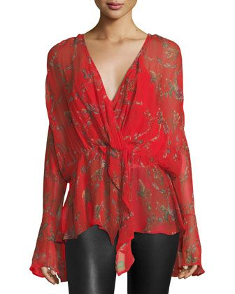 Linette+Surplice+Long-Sleeve+Printed+Chiffon+Blouse+by+Iro+at+Neiman+Marcus.