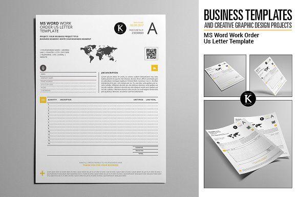 Ms Word Work Order Us Letter Print Design Brochure Word Work Lettering