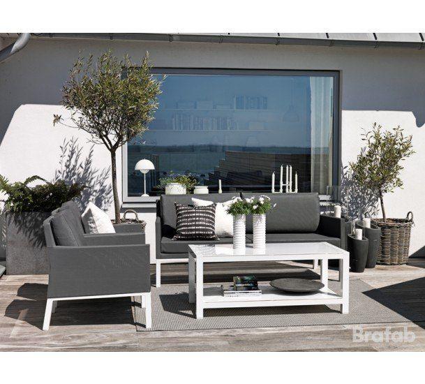 Brafab - Balma Loungestol med grå hynder - Loungestol i blank hvid aluminium
