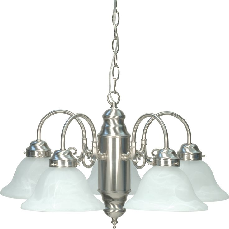 5 Light CHANDELIER BR NICKEL / ALABASTER GLASS