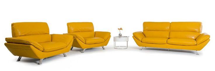 VIG Furniture   Divani Casa Daffodil Modern Yellow Italian Leather Sofa Set    VGKK1836 YEL