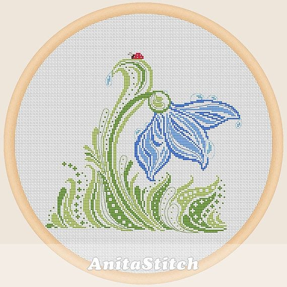 Decorative flower  Cross stitch pattern by AnitaStitch on Etsy