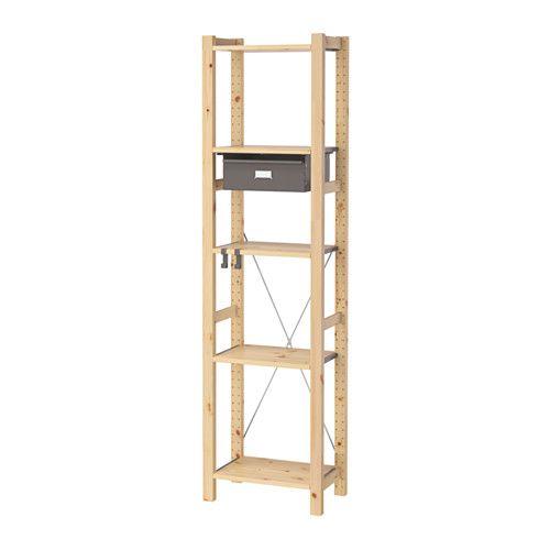 IVAR 1 section unit w/shelves & drawers, pine, gray