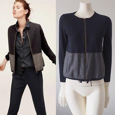 J-Crew-Two-tone-Zip-Merino-Wool-Cardigan-Bomber-Jacket-Sweater-Colorblock-XXS