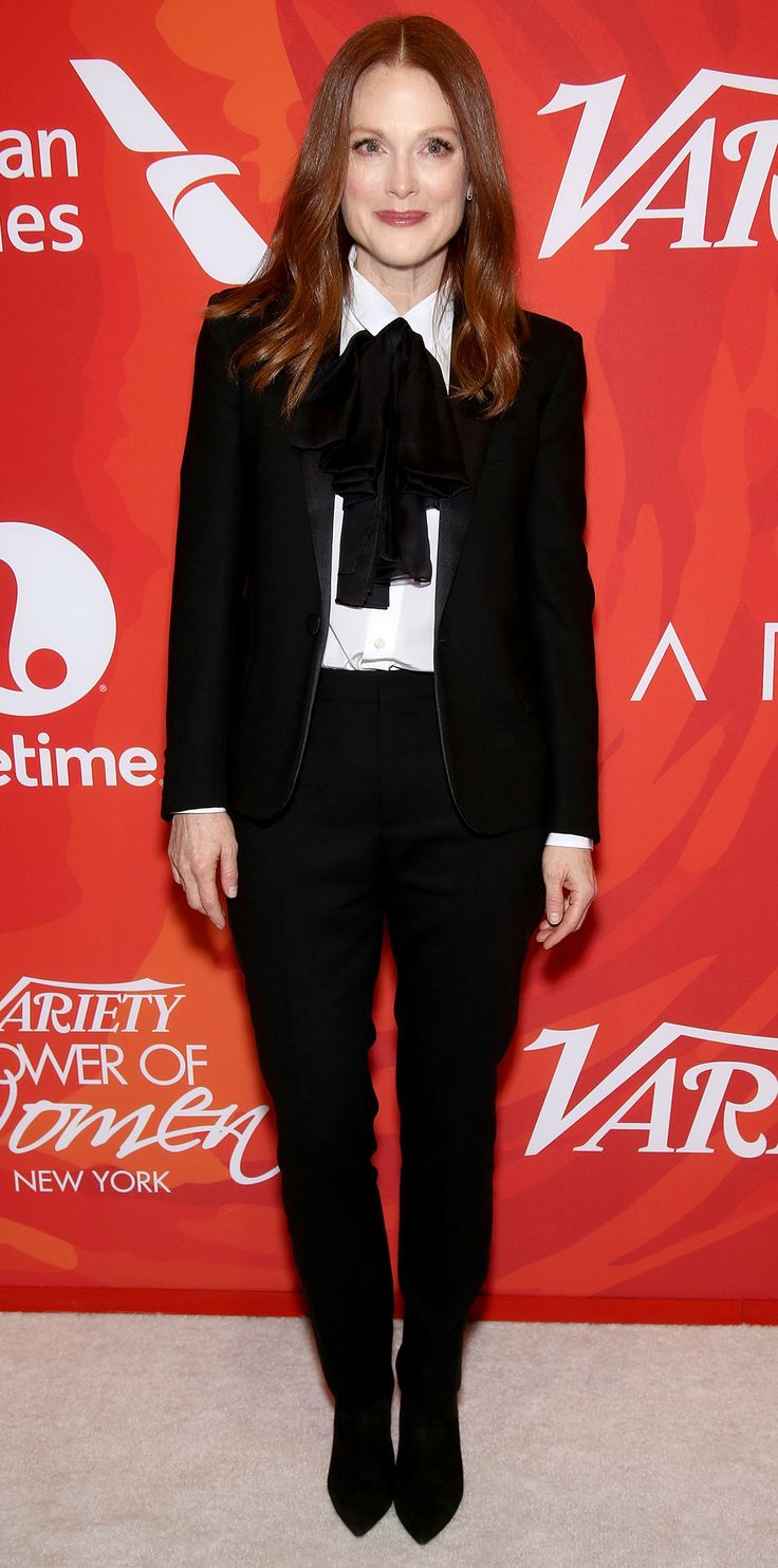 Julianne Moore got menswear right at the Variety Power of Women event in sleek black suit separates that she styled with a sweet pussy bow blouse and black suede booties.