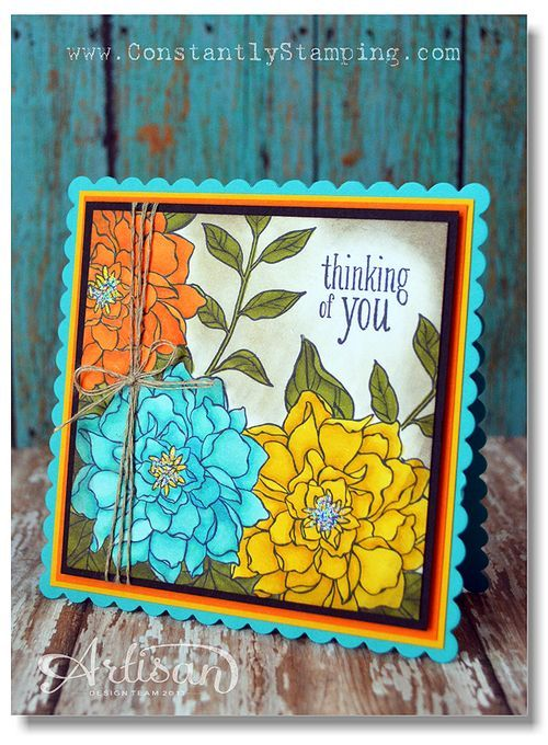 Pumpkin Pie, Daffodil Delight, Old Olive and Tempting Turquoise blendabilities, Black Memento ink  Stampin' Up!