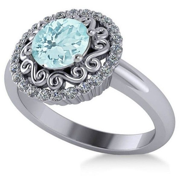 Allurez Aquamarine & Diamond Swirl Halo Engagement Ring 14k White Gold... ($2,095) ❤ liked on Polyvore featuring jewelry, rings, 14k engagement ring, diamond jewelry, diamond engagement rings, aquamarine diamond ring and 14k ring
