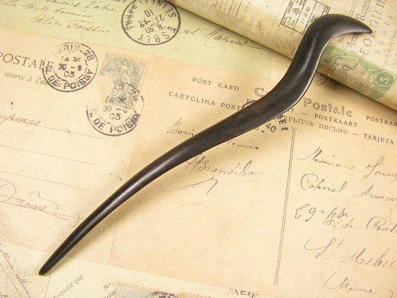 Handmade Ebony Wooden Hair Stick Snake by epstone on Etsy