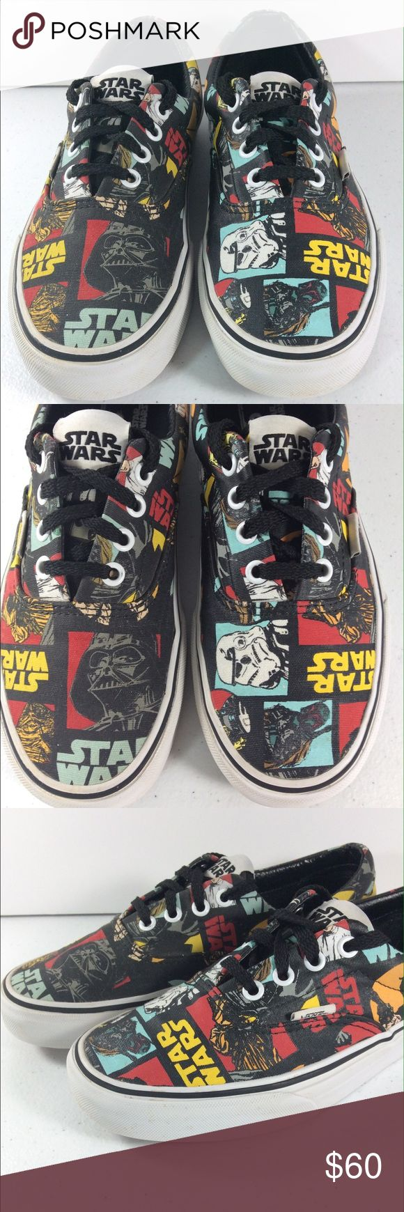Vans X Star Wars May The Force Lo Size 6 Vans ERA Mens Shoes Star Wars Classic Repeat US Mens Size: 6 Women's: 7.5 Great Condition! Laces have been replaced.  The Vans x Star Wars Era shoes are full of colorful Star Wars characters in a bright repeating patter on a comfortable vulcanized construction. Vans x Star Wars Era Classic shoe. Exclusive Vans and Star Wars collaboration. Brightly colored Star Wars characters repeated throughout.  Vulcanized construction. Cushioned footbed for…