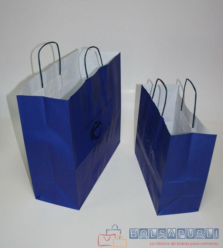Bolsapubli - Bolsas klein con asa rizada, disponibles en color azul o negro y en varios tamaños.