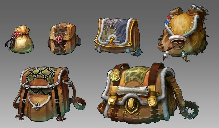 Swords and Poker Adventures bag designs, bryant Koshu on ArtStation at https://www.artstation.com/artwork/swords-and-poker-adventures-bag-designs