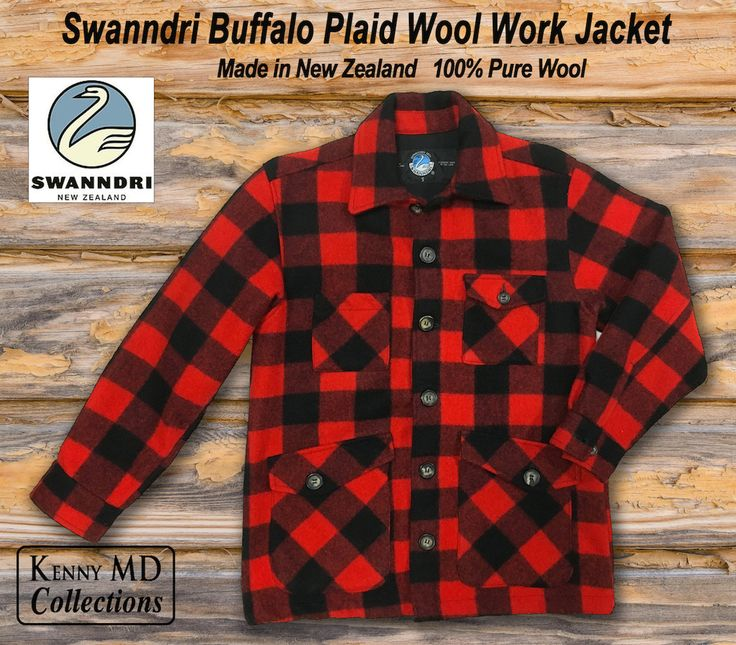 New Zealand Swanndri Buffalo Plaid Wool Work Jacket