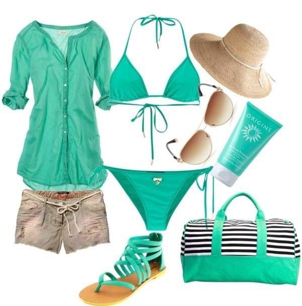 Outfits playa color Aqua