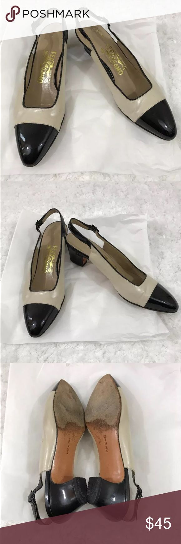 Salvatore Ferragamo slingback Pump Size 7.5 Hello and Thank you for checking my listing.  This item is pre-owned Salvatore Ferragamo women slingback Pump black/tan size 7.5 made in Italy good condition without box Salvatore Ferragamo Shoes