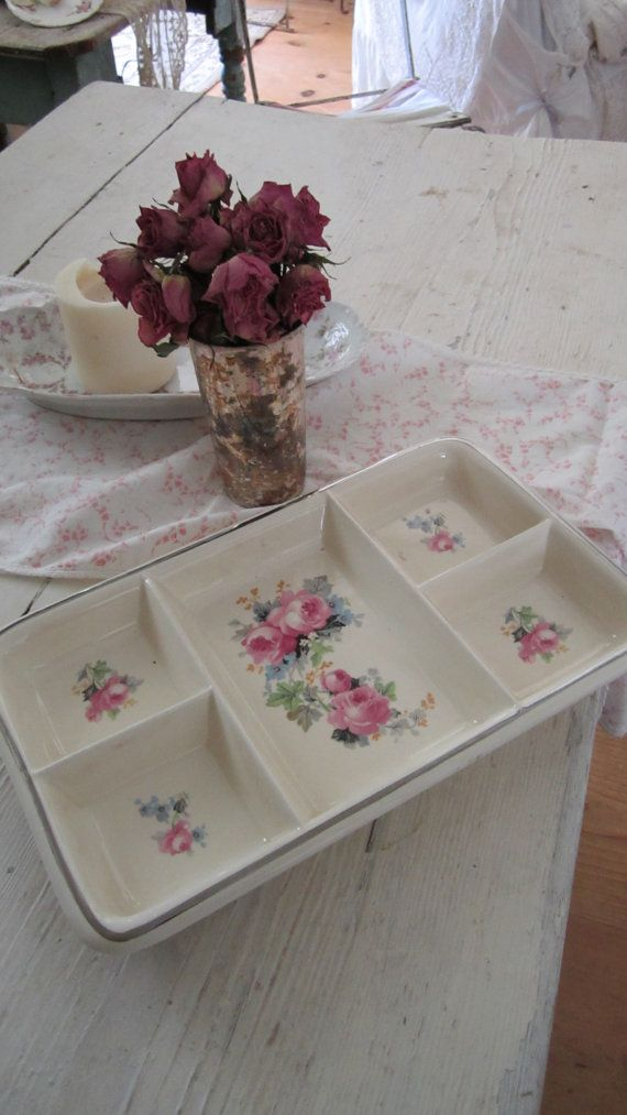 Beautiful oven ware dish with roses shabby by Vintagewhitecottage. Actually, I think it would be cute on top of your dresser to take off your jewelry on to.