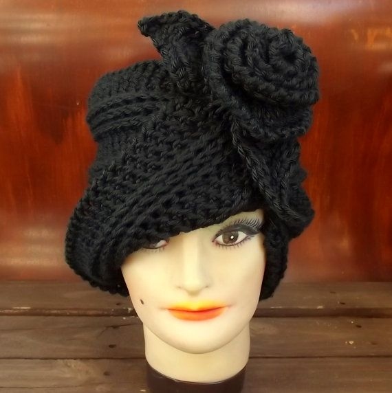 Click #strawberrycouture Hat Crochet Pattern Hat Crochet Hat Pattern Womens Hat Ombretta 1920s Cloche Hat Pattern with Flower Crochet Flower Pattern for Hat by strawberrycouture