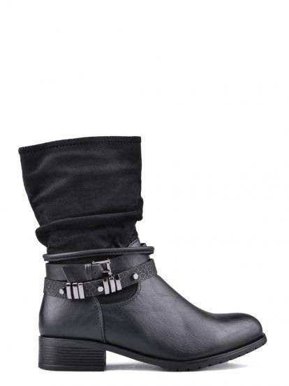 Dámské kotníkové boty na nízkém podpatku TENDENZ - černá