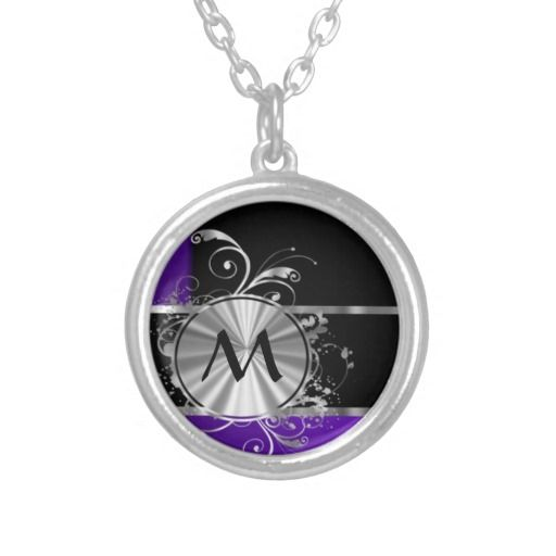 Purple black and silver personalized necklace
